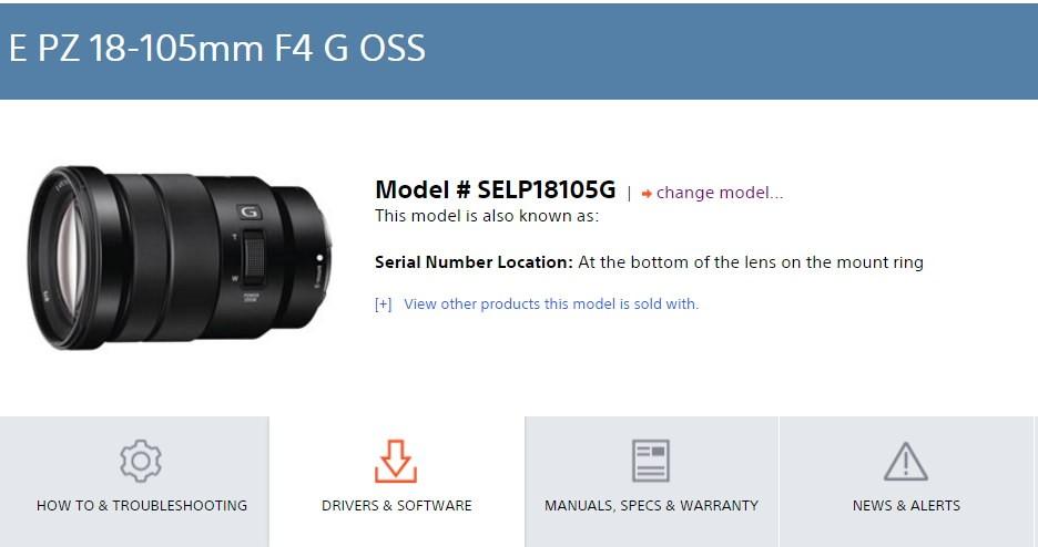 Sony18-105 F4 鏡頭韌體更新